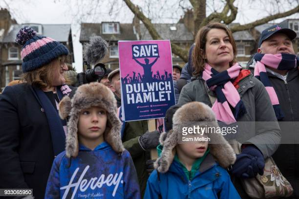 Labour MP Helen Hayes and Cllr Catherine Rose at the Dulwich Hamlet Football Club protest march from Goose Green to Champion Hill on 17th March 2018...