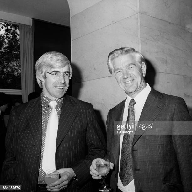Labour MP Jack Ashley StokeonTrent South with England and Northamptonshire cricketer David Steele at the Savoy Hotel at the lunch organised by the...