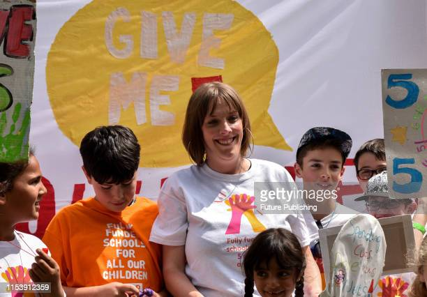 Labour MP Jess Phillips Protest in Westminster against schools closing early on Fridays at lunchtime
