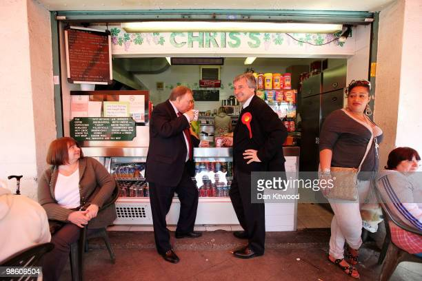 Labour MP John Prescott and Member of Parliament for Poplar and Canning Town Jim Fitzpatrick stop for a cup of tea at a market in Poplar on April 22...