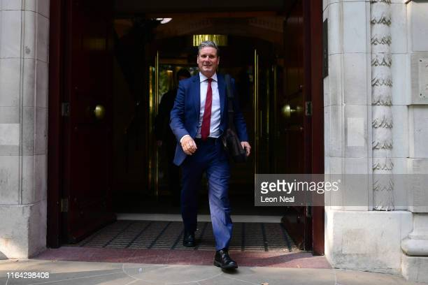 Labour MP Keir Starmer leaves Millbank studios on August 27 2019 in London England