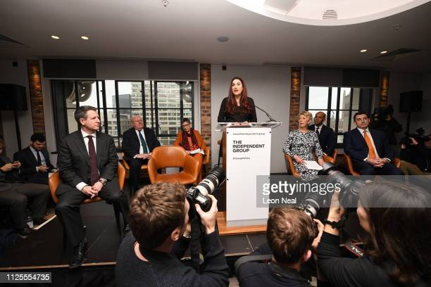Labour MP Luciana Berger announces her resignation from the Labour Party at a press conference on February 18 2019 in London England Chuka Umunna MP...
