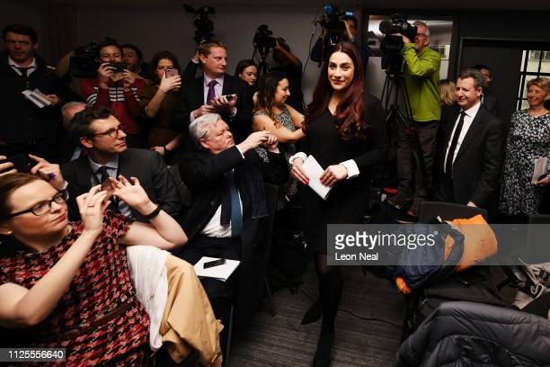 Labour MP Luciana Berger arrives at a press conference on February 18 2019 in London England Chuka Umunna MP along with Chris Leslie Luciana Berger...