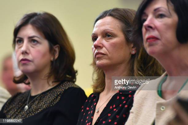 Labour MP Lucy Powell and Victoria Starmer wife of Labour MP Sir Keir Starmer lookon as Keir Starmer speaks at the Mechanics Institute best known as...