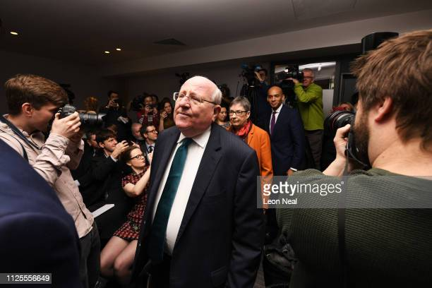 Labour MP Mike Gapes arrives at a press conference on February 18 2019 in London England Chuka Umunna MP along with Chris Leslie Luciana Berger Gavin...
