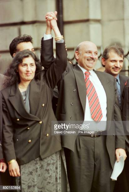Labour MP Mohammad Sarwar celebrates with his wife Parveen outside Edinburgh High Court after being cleared of two charges of attempting to pervert...