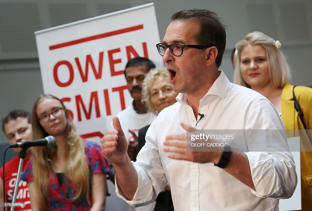 Labour MP Owen Smith speaks during his campaign launch near Cardiff in south Wales, on July 17, 2016, where he announced his candidacy to be leader of the British opposition Labour Party. As a new Conservative prime minister took over last Wednesday, Britain's opposition Labour Party was facing an existential crisis, riven by toxic splits over the leadership of Jeremy Corbyn. Smith, a 46-year-old member of Corbyn's shadow cabinet, announced that he would run against fellow Labour MP Angela Eagle in the Labour leadership contest. / AFP / GEOFF