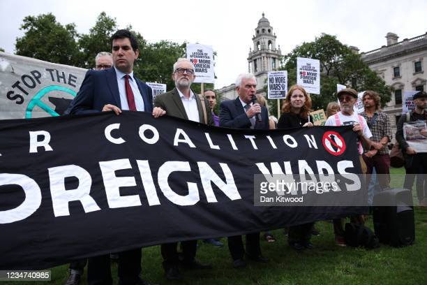 Labour MP Richard Burgon, former leader of the Labour Party Jeremy Corbyn and Labour MP John McDonnell attend a protest against the future occupation...