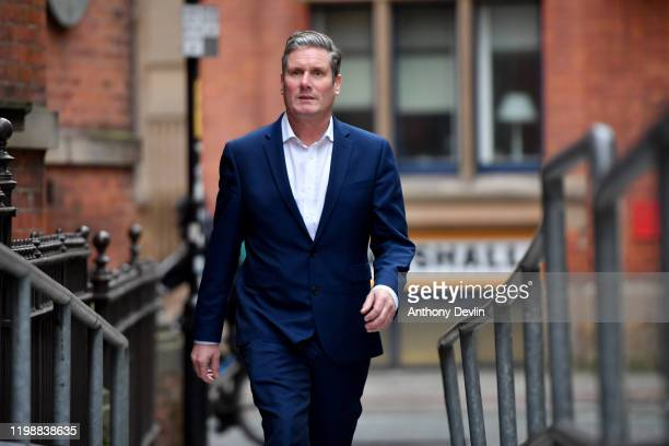 Labour MP Sir Keir Starmer arrives at the Mechanics Institute best known as the birthplace of the British Trade Union Congress as he launches his...