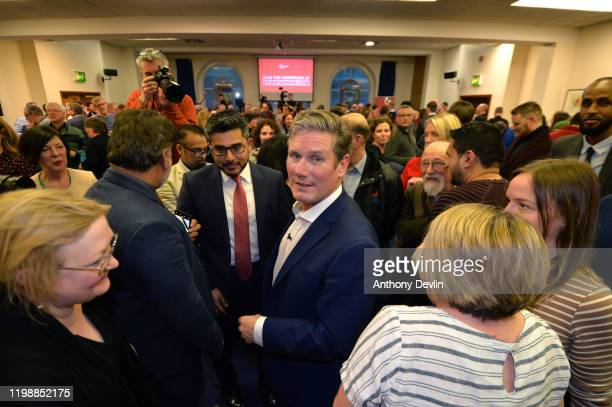 Labour MP Sir Keir Starmer meets supporters after speaking at the Mechanics Institute best known as the birthplace of the British Trade Union...