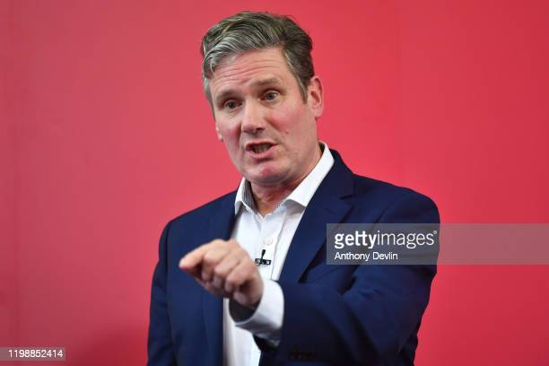 Labour MP Sir Keir Starmer speaks at the Mechanics Institute best known as the birthplace of the British Trade Union Congress as he launches his...