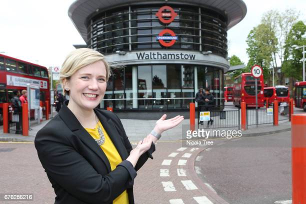 Labour MP Stella Creasey poses outside Walthamstow bus station as she campaigns in her constituency on April 27 2017 in London England Political...