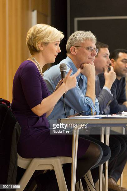 Labour MP Stella Creasy speaks a Constituency Meeting on the Syrian Vote at the Frederick Bremer School Walthamstow on December 6 2015 in...