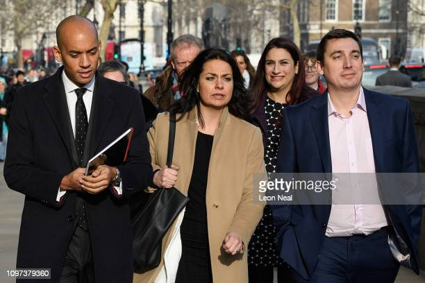Labour MPs Chuka Umunna Luciana Berger and Gavin Shuker walk with Conservative MP Heidi Allen as they leave the Cabinet Office following a Brexit...