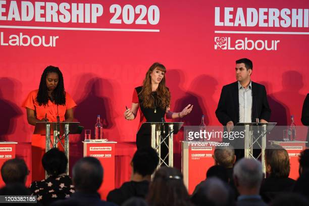 Labour MPs Dawn Butler Angela Rayner and Richard Burgon take part in the party deputy leadership hustings at Ashton Gate Stadium on February 01 2020...