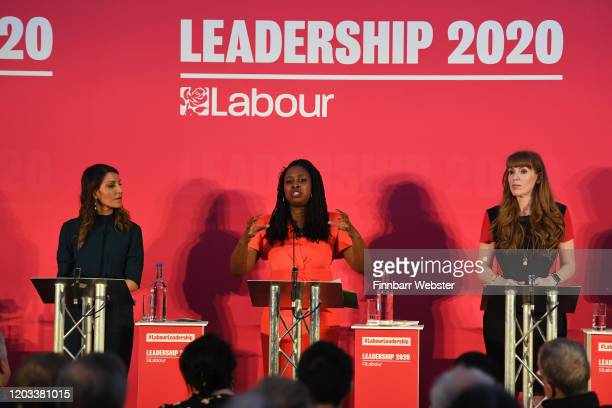 Labour MPs Dr Rosena AllinKhan Dawn Butler and Angela Rayner take part in the party deputy leadership hustings at Ashton Gate Stadium on February 01...