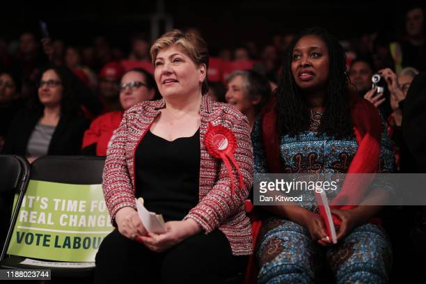Labour MP's Emily Thornberry and Dawn Butler wait for the arrival of Labour leader Jeremy Corbyn in Hoxton on December 11 2019 in London United...