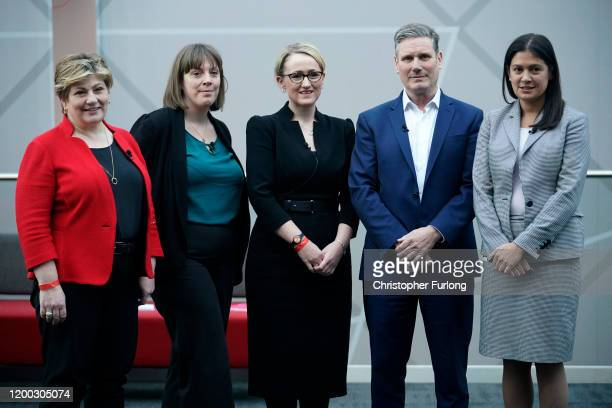 Labour MPs Emily Thornberry Jess Phillips Rebecca LongBailey Keir Starmer and Lisa Nandy pose for the media before the start of the first party...