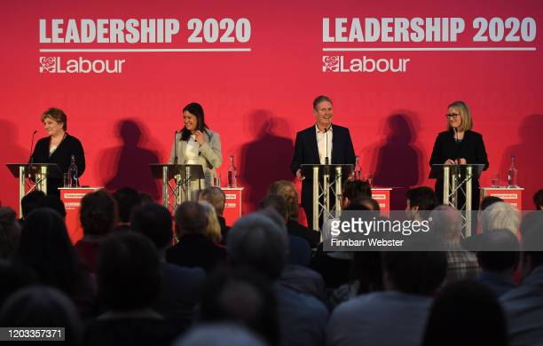 Labour MPs Emily Thornberry Lisa Nandy Keir Starmer and Rebecca LongBailey take part in the party leadership hustings at Ashton Gate Stadium on...