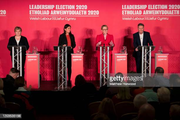 Labour MPs Emily Thornberry Lisa Nandy Rebecca LongBailey and Keir Starmer at the Labour Leadership Hustings at Cardiff City Hall on February 2 2020...