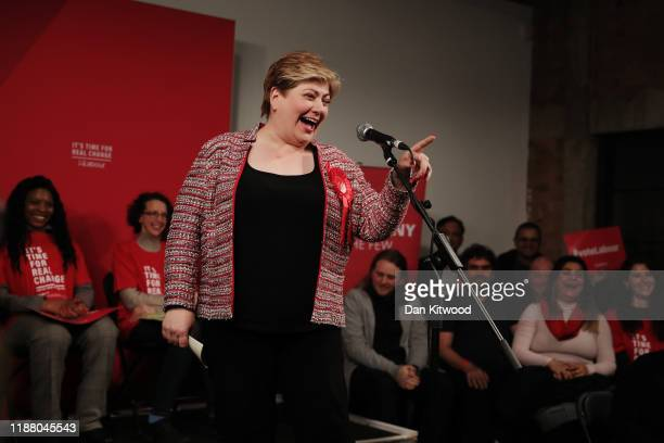Labour MP's Emily Thornberry talks to the audience before the arrival of Labour leader Jeremy Corbyn in Hoxton on December 11 2019 in London United...