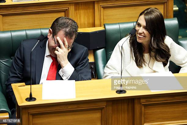 Labour MPs Grant Robertson and Jacinda Ardern enjoy a laugh during the Commission Opening of Parliament at Parliament on October 20 2014 in...