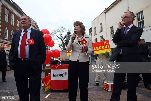 Labour MP's John Prescott Harriet Harman and Ian Austin chat to shoppers during the election campaign on April 28 2010 in Dudley England The General...