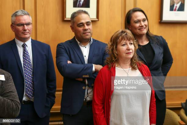 Labour MPs Kelvin Davis Peeni Henare Clare Curran and Carmel Sepuloni look on during a ministerial portfolio announcement at Parliament on October 25...