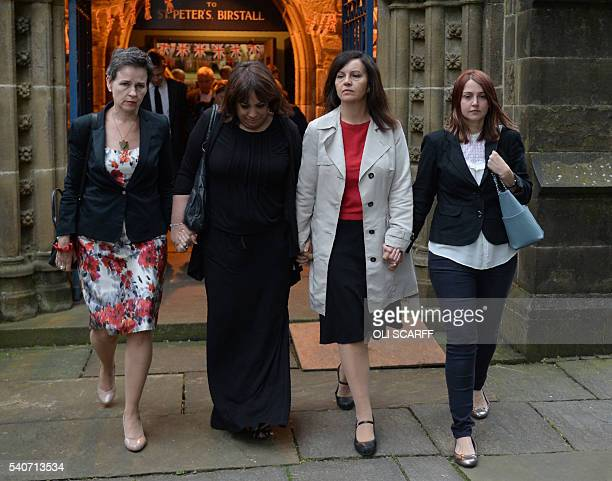 Labour MP's Mary Creagh and Caroline Flint leave St Peters church in Birstall after attending a vigil to slain Labour MP Jo Cox on June 16 2016 Cox...