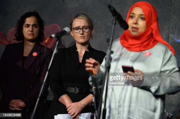 Labour MPs Nadia Whittome and Rebecca Long-Bailey look on as MP for Poplar and Limehouse Apsana Begum addresses an audience at a fringe event for...