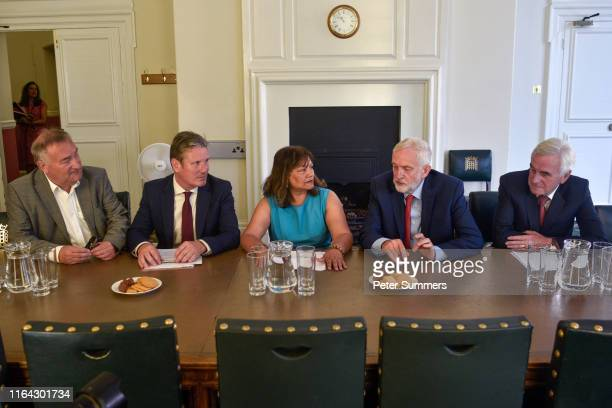 Labour MPs Nick Brown, Keir Starmer, Valerie Vaz, Labour Party Leader Jeremy Corbyn and John McDonnell prepare for a meeting with other opposition...