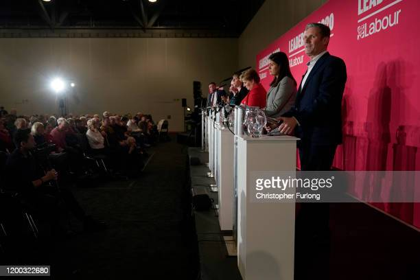 Labour MPs Rebecca LongBailey Jess Phillips Emily Thornberry Lisa Nandy and Keir Starmer take part in the first party leadership hustings at the ACC...