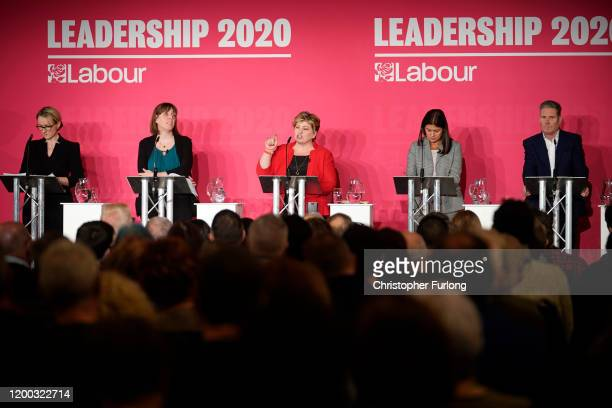 Labour MPs, Rebecca Long-Bailey, Jess Phillips, Emily Thornberry, Lisa Nandy and Keir Starmer, take part in the first party leadership hustings at...
