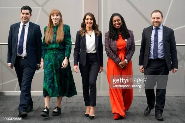 Labour MPs Richard Burgon Angela Rayner Rosena Allin Khan Dawn Butler and Ian Murray take part in the first party deputy leadership hustings at the...
