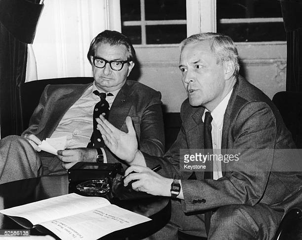 Labour MPs Tony Benn and Eric Heffer discuss the coming Labour Party conference in Brighton 30th September 1979