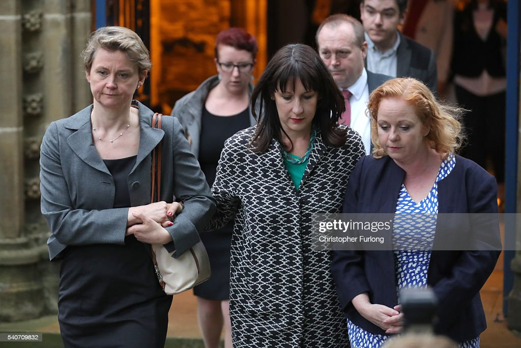 Labour MPs, Yvette Cooper, Rachel Reeves and Judith Cummins attend a vigil at St Peter's church for Jo Cox, 41, Labour MP for Batley and Spen, who was shot and stabbed by an attacker at her constituicency on June 16, 2016 in Birstall, England. A man also suffered slight injuries during the attack. Jo Cox has died after being shot and repeatedly stabbed while holding her weekly surgery at Birstall Library, Birstall near Leeds. A 53-year old man has been arrested in connection with the crime.