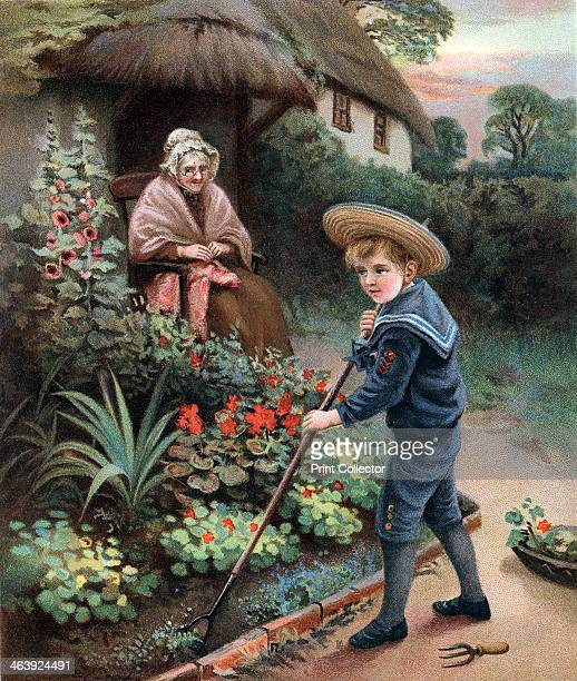 A Labour of Love' 1905 A little boy in a straw hat and sailor suit hoes the flower garden for his grandmother who in shawl and bonnet sits watching...