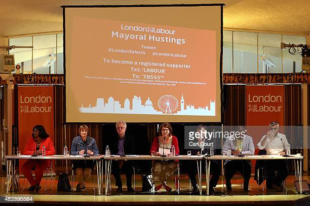 Labour Party candidate for London mayor Diane Abbott Tessa Jowell Christian Wolmar chairman Gareth Thomas David Lammy and Sadiq Khan attend a Labour...