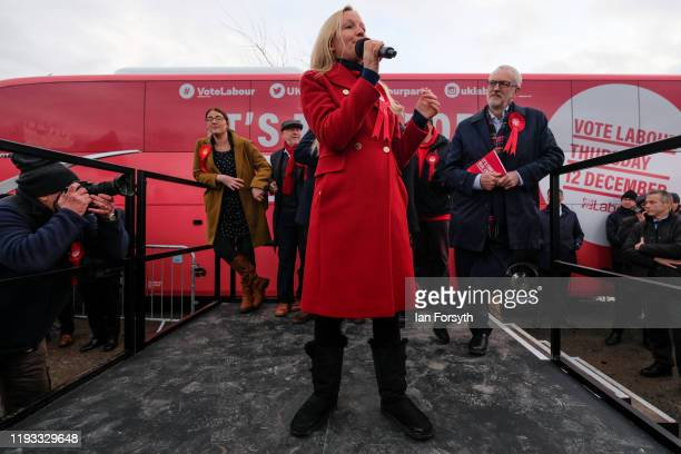 Labour Party candidate for Middlesbrough South and East Cleveland Lauren Dingsdale speaks to supporters during a rally at the Sporting Lodge Inn on...