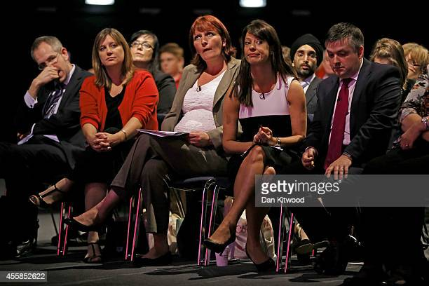 Labour party delegates including Gloria De Piero Shadow Women and Equalities Minister listen to speaches on day one of the Labour party Conference on...
