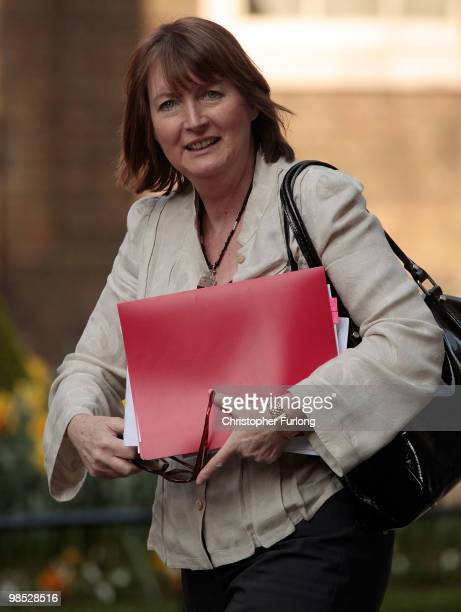 Labour party Deputy Leader Harriet Harman arrives at Downing Street for an emergency meeting to discuss the aviation crisis on April 18 2010 in...