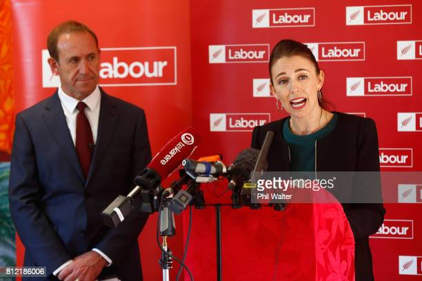 Labour Party deputy leader Jacinda Ardern announces the party's Families Package at the Leataata O Tupulaga O le Pasefika Preschool as leader Andrew...