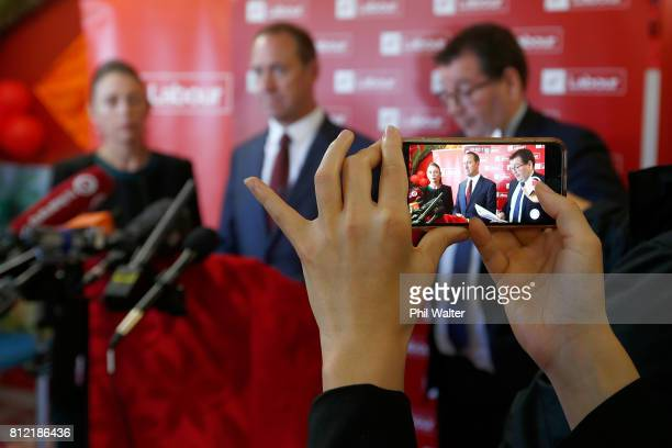 LR Labour Party deputy leader Jacinda Ardern leader Andrew Little and finance spokesperson Grant Robertson announce the party's Families Package at...