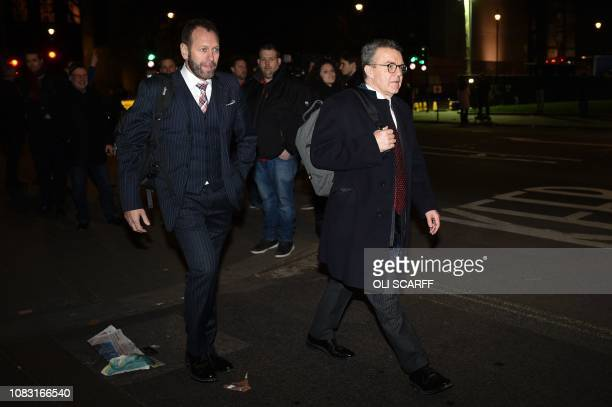 Labour Party Deputy leader Tom Watson leaves the Houses of Parliament in London on January 15 after MPs voted against the government's Brexit deal...