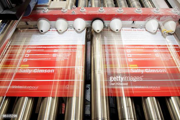 Labour Party free post leaflets are processed at Anton Group Printers on April 13 2010 in London United Kingdom Anton Group Printers who print the...