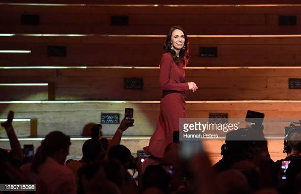 Labour Party leader and New Zealand Prime Minister Jacinda Ardern claims victory during the Labor Party Election Night Function at Auckland Town Hall...