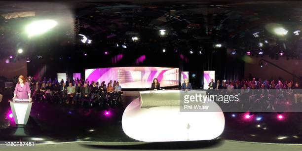 Labour Party leader and Prime Minister Jacinda Ardern and National Party leader Judith Collins take part in the TVNZ Final Leaders Debate on October...