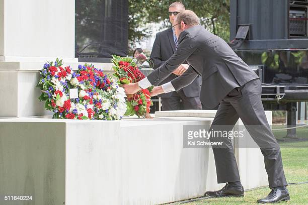 Labour Party Leader Andrew Little lays a wreath during a Civic Memorial Service held in the Botanical Gardens for victims of the 2011 Christchurch...