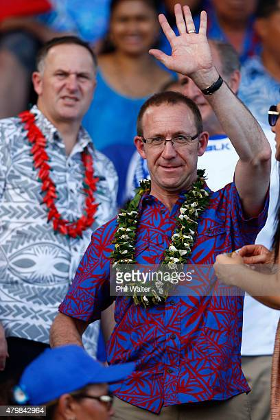 Labour Party leader Andrew Little looks on with New Zealand Prime Minister John Key during the International Test match between Samoa and the New...