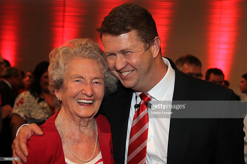Labour Party Leader David Cunliffe hugs his mother after his speech during the Labour Party National Conference on November 2, 2013 in Christchurch, New Zealand. The 97th Labour Party Annual Conference runs from 1 - 3 November 2013.